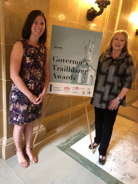 Emily Embury and Charlene Blohm at the 2018 Governor's Trailblazer Award for Wisconsin Women in Business ceremony.
