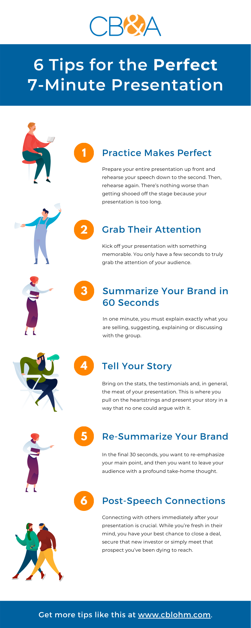 6 tips for the perfect ASU GSV presentation include practice makes perfect, grab their attention, summarize your brand in 60-seconds, tell your story, re-summarize your brand and make post-speech connections